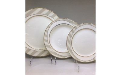 Набор тарелок 18 предметов на 6 персон Серые полоски Y05-54H-2, Japonica