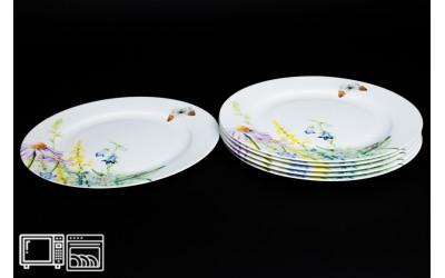 Набор тарелок 6 шт. 20 см Дейзи Бабочки, костяной фарфор