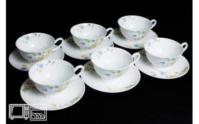 Набор чайных пар 6 шт. 200мл Сиреневый цветок, костяной фарфор