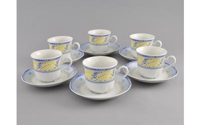 Набор чашек выс. с бл. 0,20л 6шт. 03160415-0667 Мэри-Энн Голубые цветы на желтом фоне, Leander