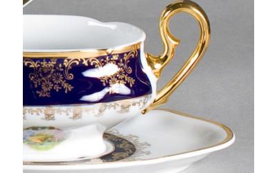 Чашка для супа  с блюдц. 2руч. 0,35л 03120624-0179 Мэри-Энн Мадонна кобальт, Leander