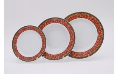 Набор тарелок 18предм.с тарел.дес. 19см 02160129-0979 Красная лента, Leander