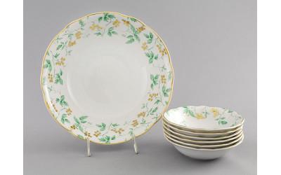Набор салатников 7пр. 03161416-1381 Мэри-Энн Зеленые листья, Leander