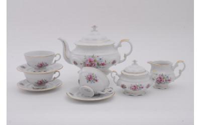 Сервиз чайный 15 предметов на 6 персон Соната Розовые цветы, отводка золото, Leander