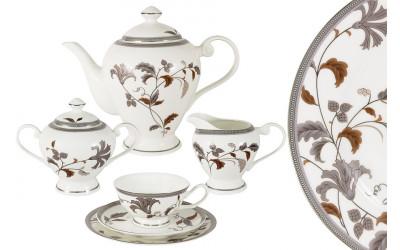 Чайный сервиз Серебряный лист 21 предмет на 6 персон