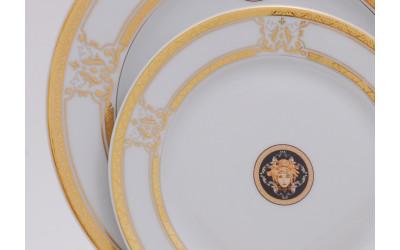 Набор тарелок десертных 6шт 19см 02160329-A126 Версаче золотая лента, Leander
