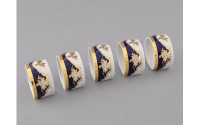 Кольцо для салфеток большое 07114612-1457 Соната Кобальтовый орнамент, золотая роза, Leander