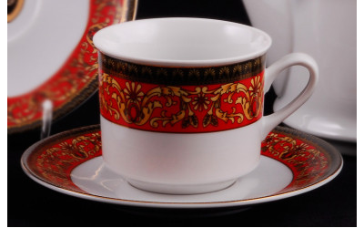 Набор чашек высоких 0,20 л с блюдцем 6 шт Сабина Красная лента Версаче, Leander