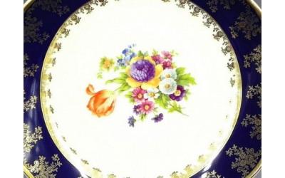 Ваза 32см гигант. 03118215-0086 Мелкие цветы, кобальтовый борт, Leander