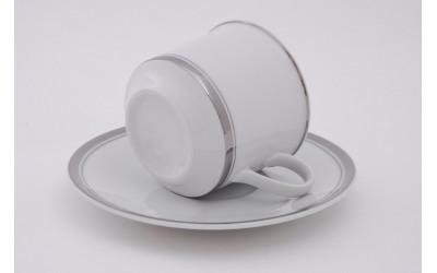 Набор чашек выс. с блюдцем 6шт. 0,10л 02160413-0011 Отводка платина, Leander