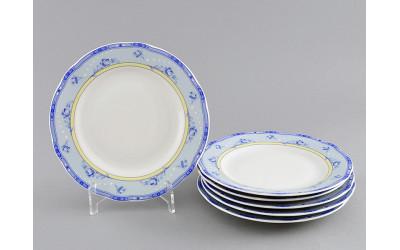Набор тарелок десертных 6 шт. 17см 03160317-0667 Мэри-Энн Голубые цветы на желтом фоне, Leander