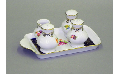 Набор для приправ 5 предм. 03162513-0086 Мелкие цветы, кобальтовый борт, Leander