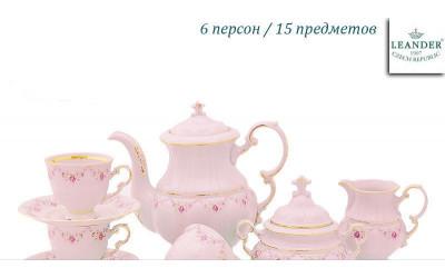 Сервиз кофейный 15 предм с чаш. 0,15л 07260714-0158 Верона, Мелкие цветы, отводка золото, Leander