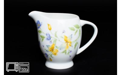 Молочник 10 см Сиреневый цветок, костяной фарфор