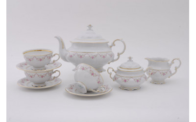 Сервиз чайный 15 предм. 07160725-0158 Верона, Мелкие цветы, отводка золото, Leander