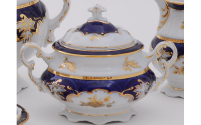 Сахарница без ручек 0,10л 07120903-1457 Соната Кобальтовый орнамент, золотая роза, Leander