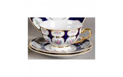 Набор чашек низ. с блюдцем 6шт 0,20л 07160425-0419 Соната Розовый цветок, кобальтовый орнамент, Leander