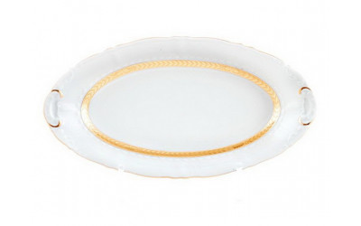 Блюдо овальн. 36см 07511513-1239 Соната Золотая лента, слоновая кость, Leander