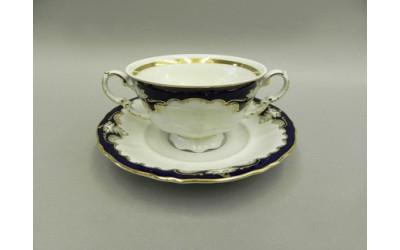 Чашка для супа с блюдцем 2руч. 0,35л 07120624-1357 Соната Кобальтовый орнамент, Leander