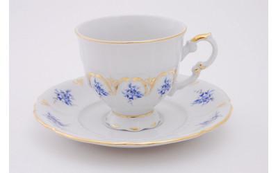 Набор чашек выс. с блюдцем 6шт 0,15л 07160414-0009 синие цветы, Leander