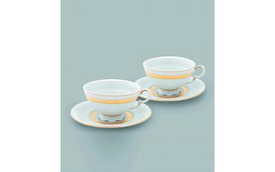 Набор из двух чайных пар  0,20л 07140425-1239 Соната Золотая лента, слоновая кость, Leander