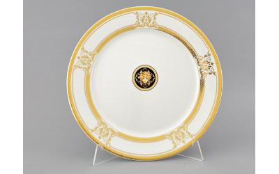 Блюдо круглое мелкое 30см 02111333-A126 Версаче золотая лента, Leander