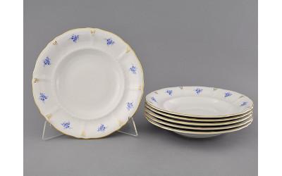 Набор тарелок глубоких 6шт 23см 07160213-0009 синие цветы, Leander