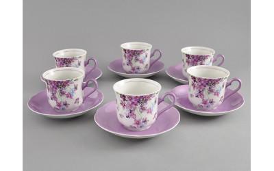 Набор чашек выс. с бл. 0,20л 6шт. 03160415-2391 Мэри-Энн Лиловые цветы, Leander