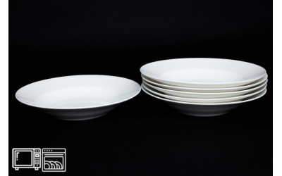 Набор тарелок 6 шт. 23см (суп) Белый, костяной фарфор