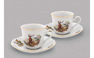 Набор из двух чайных пар  0,20л 03140415-0363 Мэри-Энн, Охота, Leander