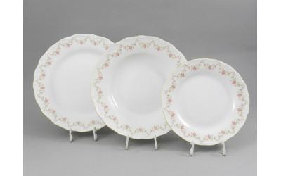 Набор тарелок 18 предм. с т.дес. 19см 67160119-0158 Верона, Мелкие цветы, отводка золото, Leander