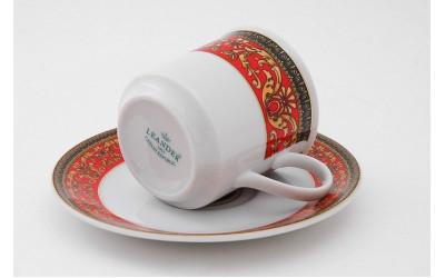 Набор чашек выс. с блюдцем 6шт 0,15л 02160414-B979 Красная лента Версаче, Leander