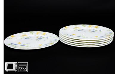Набор тарелок 6 шт. 20 см Сиреневый цветок, костяной фарфор