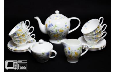 Чайный сервиз на 6 персон Сиреневый цветок, Rulanda, костяной фарфор