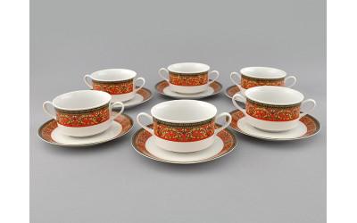 Набор чашек для супа с блюдц. 6шт 0,30л 02160673-0979 Красная лента, Leander