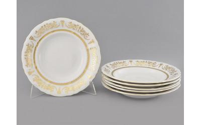 Набор тарелок глубоких 6шт 23см 07160213-1373 Соната Золотой орнамент, отводка золото, Leander