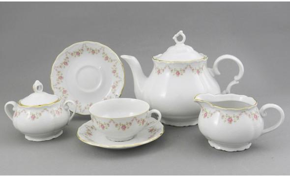 Сервиз чайный Leander 6 персон, 15 предметов Верона, Мелкие цветы, отводка золото