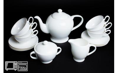 Чайный сервиз на 6 персон Белый, Rulanda, костяной фарфор