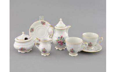 Подарочный набор кофейный мокко Тет-а-тет 07140743-0013 Соната Розовые цветы, отводка золото, Leander