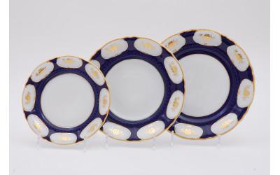 Набор тарелок 18предм. с т. дес. 19см 07160119-0443 Соната Кобальтовый орнамент, золотой цветок, Leander