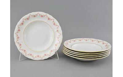 Набор тарелок глубоких 6шт 23см 07160213-0158 Верона, Мелкие цветы, отводка золото, Leander