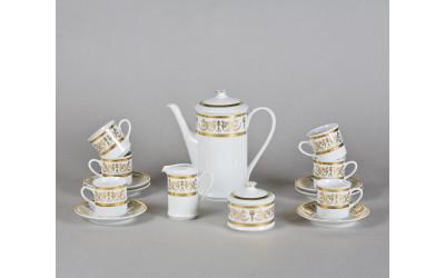 Сервиз кофейный мокко 15 предм. 02160713-1373 Соната Золотой орнамент, отводка золото, Leander