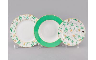 Набор тарелок 18предм. с тар. дес. 19 03160119-1381 Мэри-Энн Зеленые листья, Leander