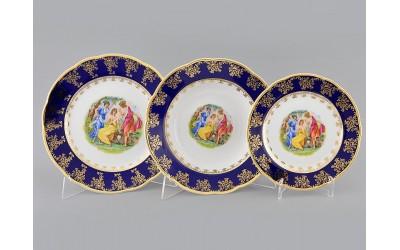 Набор тарелок 18предм. с тар. дес. 19 03160119-0179 Мэри-Энн Мадонна кобальт, Leander