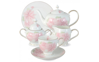 Чайный сервиз Розовые цветы 21 предмет на 6 персон