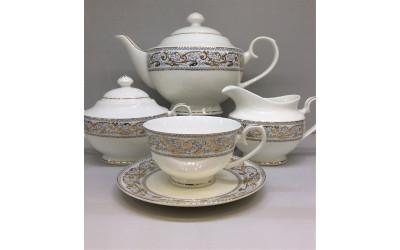 Сервиз чайный 17 предметов на 6 персон Барокко EMGD-8252GY-4, Japonica