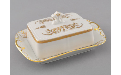 Масленка граненная 0,25кг 07122315-1373 Соната Золотой орнамент, отводка золото, Leander