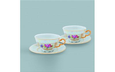 Набор из двух чайных пар  0,20л 07140425-0656 Соната Цветы, перламутр, Leander