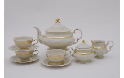 Чайный сервиз 15 предм. 07560725-1239 Соната Золотая лента, слоновая кость, Leander