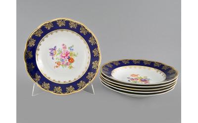 Набор тарелок глубоких 6шт. 23см 03160213-0086 Мелкие цветы, кобальтовый борт, Leander